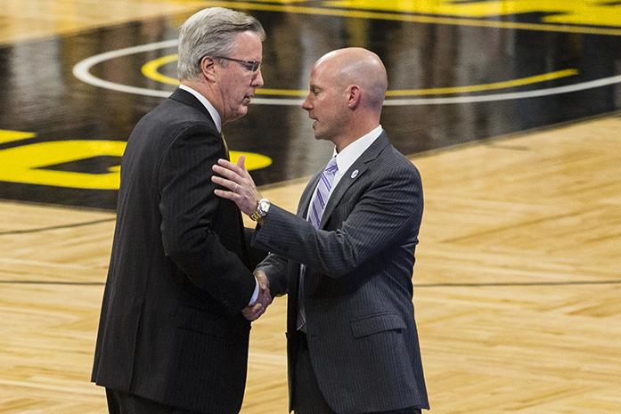 Iowa head coach Fran McCaffery and Seton Hall head coach Kevin Willard shake hands after a basketball game in Carver-Hawkeye Arena on Thursday, Nov. 17, 2016. The Pirates defeated the Hawkeyes, 91-83, in Iowa City. (The Daily Iowan/Joseph Cress)