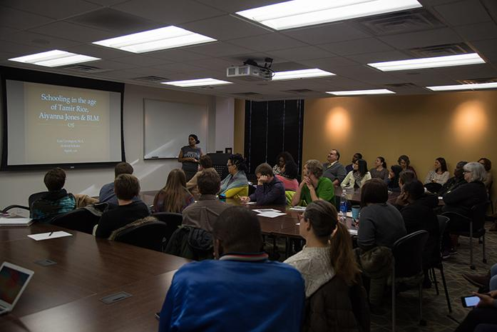 Lisa Covington leads a discussion on schooling in the age of Tamir Rice, Aiyana Jones and #BlackLivesMatter  at the Lindquist Center, in Iowa City, Iowa  on Wednesday, Dec. 7, 2016. The discussion touched on issues of knowledge of cultural differences and how to help improve teaching methods and reach a deeper level understanding with black students. (The Daily Iowan/Anthony Vazquez)