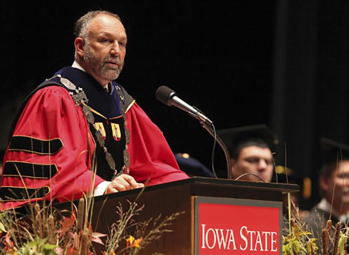 FILE+-+In+this+Sept.+14%2C+2012%2C+file+photo%2C+Iowa+State+President+Steven+Leath+speaks+during+his+installation+ceremony+in+Ames%2C+Iowa.+Documents+obtained+by+The+Associated+Press+under+the+open+records+law%2C+shows+Leath+damaged+a+private+plane+in+a+hard+landing+in+2014%2C+11+months+before+he+banged+up+a+university+aircraft+in+similar+fashion.+The+Board+of+Regents+has+received+the+results+of+an+audit+into+every+flight+Leath+and+others+have+taken+on+university+planes+during+his+presidency%2C+and+scheduled+a+special+meeting+to+discuss+Leath%27s+performance.+%28Bryon+Houlgrave%2FThe+Des+Moines+Register+via+AP%2C+File%29