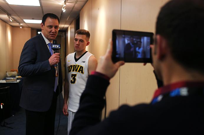 Iowa guard Jordan Bohannon is interviewed after the game  against Indiana on March 9, 2017 in the Verizon Center in Washington D.C. during the second round of the Big Ten Tournament. Bohannon is the only freshman in the country with over 70 three-pointer and 140 assists. Indiana defeated Iowa, 95-73. (The Daily Iowan/Joshua Housing)