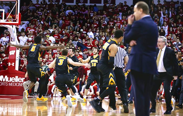 Iowa celebrates s 59-57 win over Wisconsin in an NCAA college basketball game Thursday, March 2, 2017, in Madison, Wis. (AP Photo/Andy Manis)