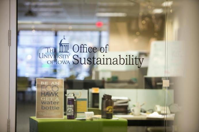 The University of Iowa Office of Sustainability is pictured in the Old Capitol Mall on Clinton St. UISG voted on a bill to allocate $1,738 this year for a Renewable Energy Educational Development trip, each semester. (The Daily Iowan/Ben Smith)