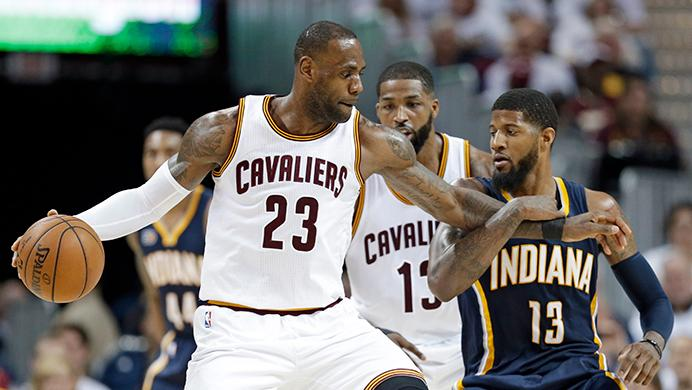 Cleveland+Cavaliers%27+LeBron+James+%2823%29+tries+to+drive+past+Indiana+Pacers%27+Paul+George+%2813%29+in+the+second+half+in+Game+2+of+a+first-round+NBA+basketball+playoff+series%2C+Monday%2C+April+17%2C+2017%2C+in+Cleveland.+The+Cavaliers+won+117-111.+%28AP+Photo%2FTony+Dejak%29
