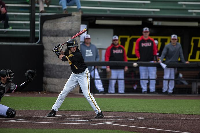 Iowa infielder Mason McCoy eyes the ball during the Iowa vs. Northern Illinois baseball game at Duane Banks Field in Iowa City, Iowa on Tuesday, March 7, 2017. The Hawkeyes beat the Huskies 12-8. (The Daily Iowan/Anthony Vazquez)