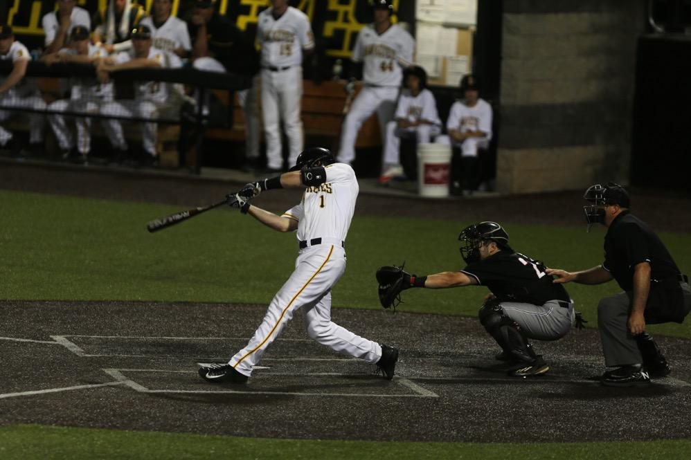 Iowa infielder Mason McCoy hits a walk off single during the game between Omaha-Iowa at Duane Banks Field on Tuesday, May 16, 2017. The Hawkeyes pull off another comeback win with three runs in the 8th inning and two runs in the 9th inning for the 9-8 victory. (The Daily Iowan/ Alex Kroeze)