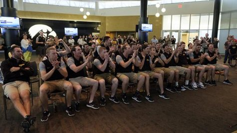 The Iowa Baseball team reacts to the announcement of their NCAA Tournament seed in the Feller Room at Carver-Hawkeye arena on Monday May 29, 2017. The Hawkeyes earned an automatic bid by winning their first ever Big Ten Tournament. They were awarded a 4 seed and will play in the Houston Regional starting on June 2 against host Houston. The game will be televised on ESPNU at 7p.m. (The Daily Iowan/Nick Rohlman)
