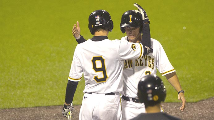 Iowa%27s+Ben+Norman+and+Matt+Hoeg+celebrate+a+run+during+game+two+of+the+Iowa-Penn+State+baseball+series+at+Duane+Banks+Field+on+Friday%2C+April+28%2C+2017.+The+Hawkeyes+swept+the+rain+delayed%2C+late+night+double+header%2C+4-2+and+8-2%2C+respectively.+%28The+Daily+Iowan%2FLily+Smith%29