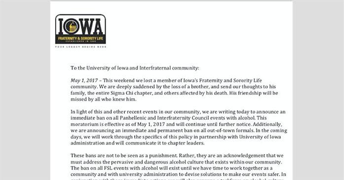 Iowa greek leaders announce alcohol ban