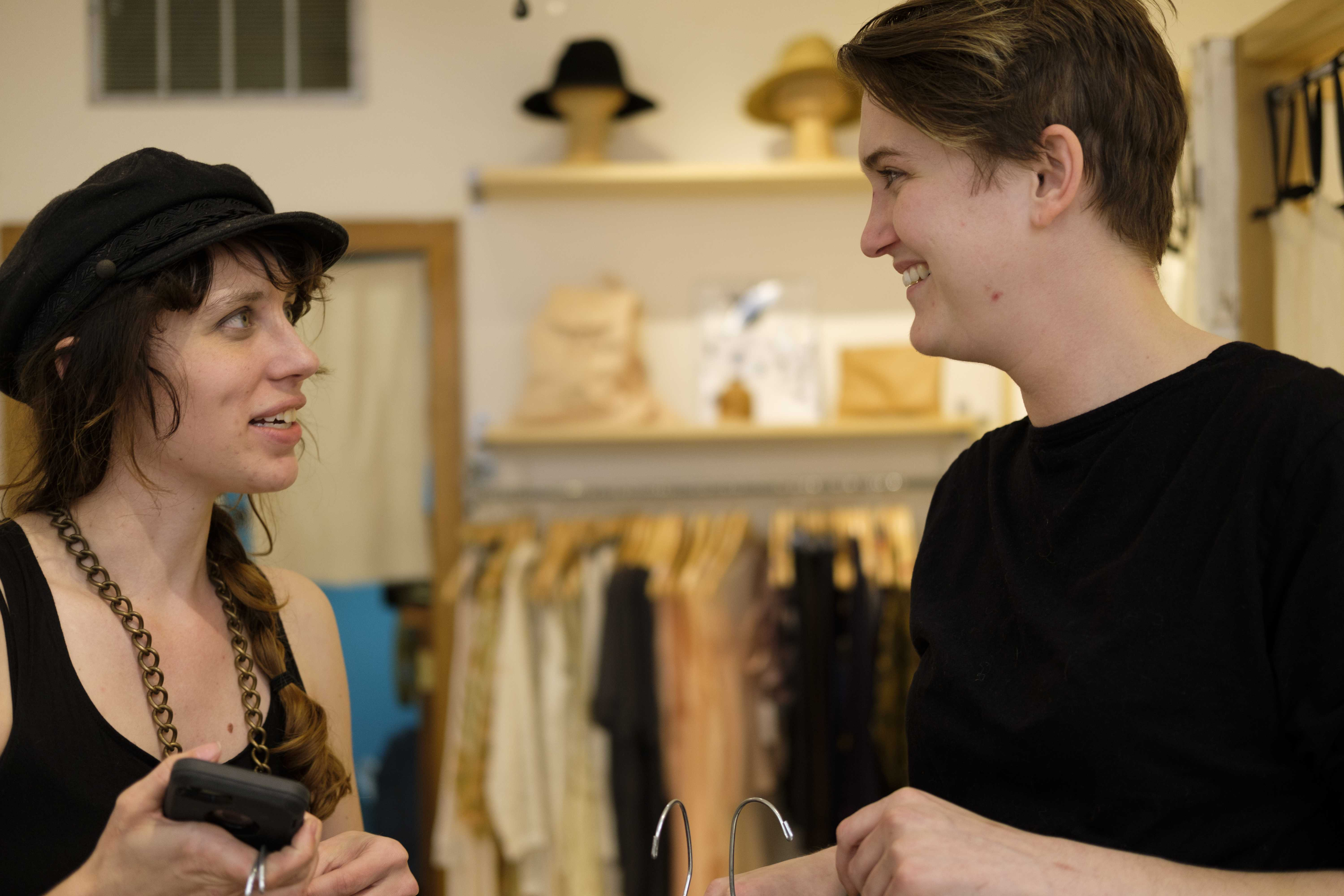 Lindsay Chastain of Sauvaged Jewelry conducts a fitting with Emma Liebe Hart in preparation for the Flyover Fashion festival on Thursday May 4, 2017. Chastain's designs will be featured in the TRVE VVILL show Friday at 10pm at RAD in Iowa City.