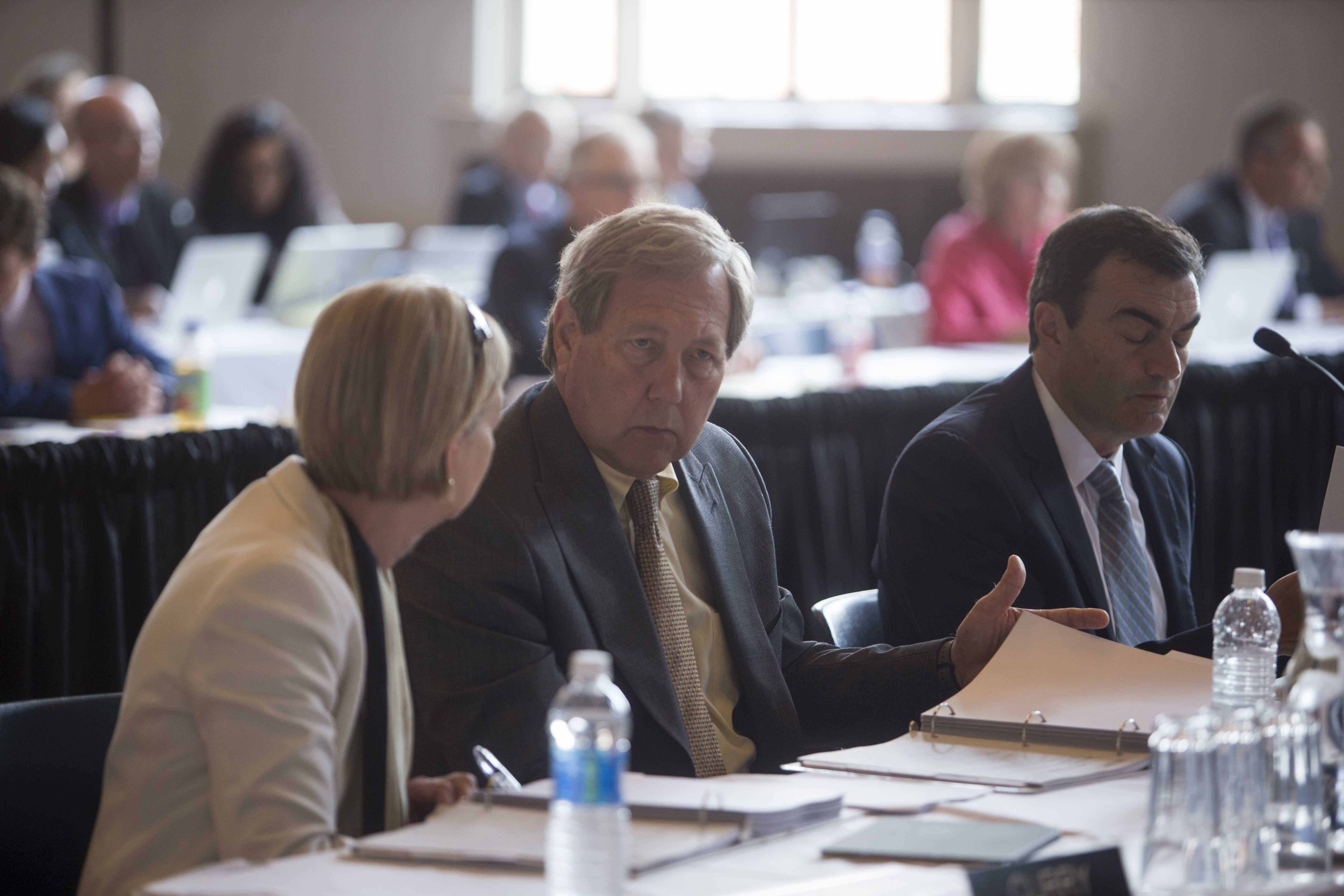 University of Iowa Provost Sue Curry speaks to University President Bruce Harreld during an Iowa Board of Regents Meeting on Thursday June 8, 2017. (The Daily Iowan/Nick Rohlman)