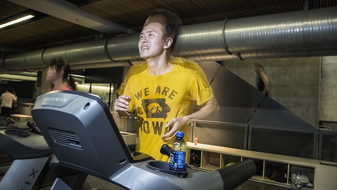 University of Iowa student, Zhong Ren, goes for his regular one hour run at the Campus Recreation and Wellness Center on Monday, June 19, 2017. Zhong is originally from Chongqing, in central China, and is currently attending University of Iowa PHD Engineering Program. (James Year/The Daily Iowan
