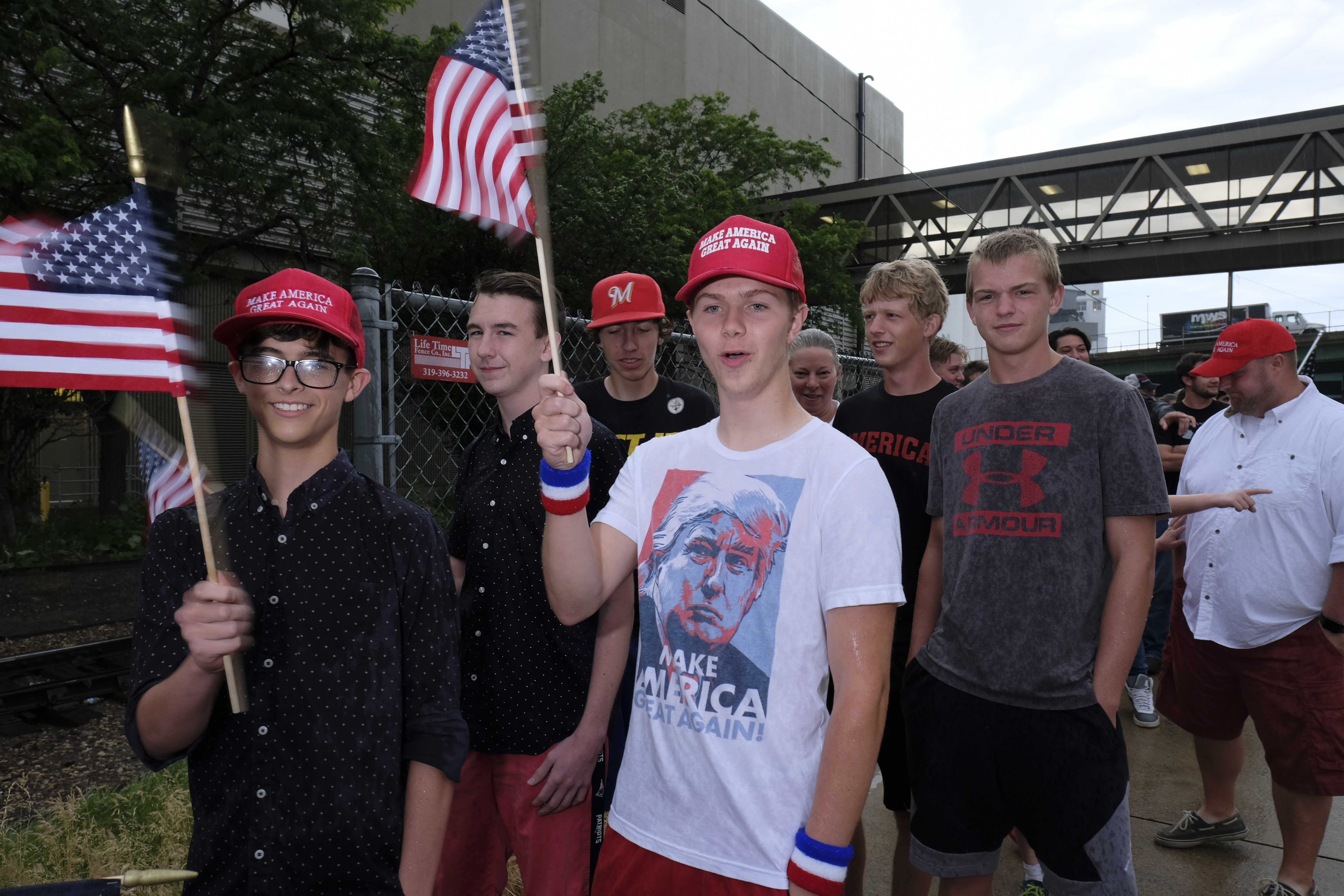 Trump supporters wait in line outside of a Donald Trump rally in Cedar Rapids on Wednesday June 21, 2017. (Nick Rohlman/The Daily Iowan)