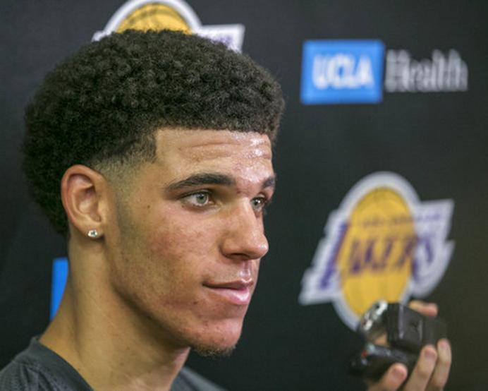 FILE - In this June 7, 2017, file photo, University of California Los Angeles guard Lonzo Ball takes questions from the media after a closed Los Angeles Lakes pre-draft workout in El Segundo, Calif. Balls mental steadiness is one big reason hes almost certain to be a top-three pick at the NBA Draft on Thursday. (AP Photo/Damian Dovarganes, File)