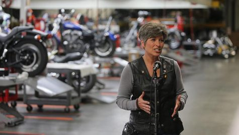 Sen. Joni Ernst, R-Iowa, speaks with memebers of the media during the third annual Roast and Ride event in Boone, Iowa, on Saturday, June 3, 2017. Guests included Vice President Mike Pence; Sen. Tim Scott, R-S.C.; Sen. Chuck Grassley, R-Iowa; Iowa Gov. Kim Reynolds; and Rep. Steve King, R-Iowa. (The Daily Iowan/Nick Rohlman)