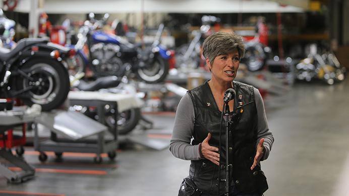 Sen.+Joni+Ernst%2C+R-Iowa%2C+speaks+with+memebers+of+the+media+during+the+third+annual+Roast+and+Ride+event+in+Boone%2C+Iowa%2C+on+Saturday%2C+June+3%2C+2017.+Guests+included+Vice+President+Mike+Pence%3B+Sen.+Tim+Scott%2C+R-S.C.%3B+Sen.+Chuck+Grassley%2C+R-Iowa%3B+Iowa+Gov.+Kim+Reynolds%3B+and+Rep.+Steve+King%2C+R-Iowa.+%28The+Daily+Iowan%2FNick+Rohlman%29