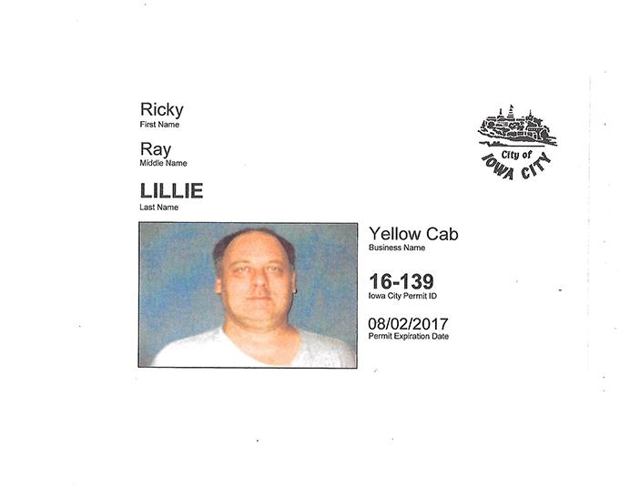 Ricky+Ray+Lillie%2C+Iowa+City+resident+and+Yellow+Cab+driver%2C+was+found+dead+in+his+taxi+early+Wednesday+morning.+His+taxi+badge+was+released+with+a+press+release+by+Yellow+Cab+of+Iowa+City+Thursday+afternoon.