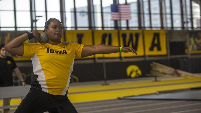 Iowa+freshman+Laulauga+Tausaga+attempts+a+throw+during+the+Border+Battle+indoor+track+meet+in+the+UI+Recreation+Building+with+Iowa%2C+Missouri+and+Illinois+competing+on+Saturday%2C+Jan.+7%2C+2017.+The+Hawkeye+women+defeated+Missouri+and+Illinois%2C+105-33+and+96-51+respectively%2C+while+the+men+defeated+Missouri%2C+107-27+and+fell+to+Illinois%2C+85-74.+%28The+Daily+Iowan%2FJoseph+Cress%29