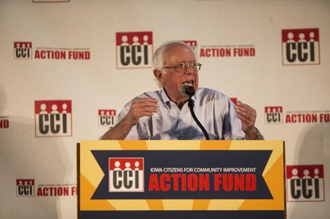 Sen. Bernie Sanders, I-Vermont, speaks during the annual Iowa Citizens for Community Improvement Action Fund in Des Moines, Iowa, on Saturday, July 15, 2017. Sanders spoke as the keynote speaker for the event. (Joseph Cress/The Daily Iowan)