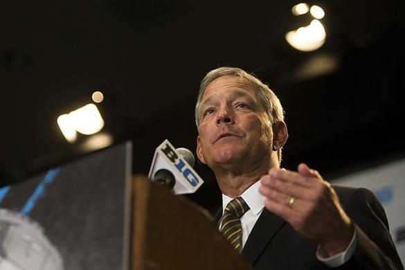 Iowa Head Coach Kirk Ferentz speaks during Big Ten Football Media Days at McCormick Place Conference Center in Chicago on Monday, July 24, 2017. Ferentz and players Sean Welsh, Matt Vandeberg, and Josie Jewell represented the Hawkeyes at the conference. (Ben Smith/The Daily Iowan)