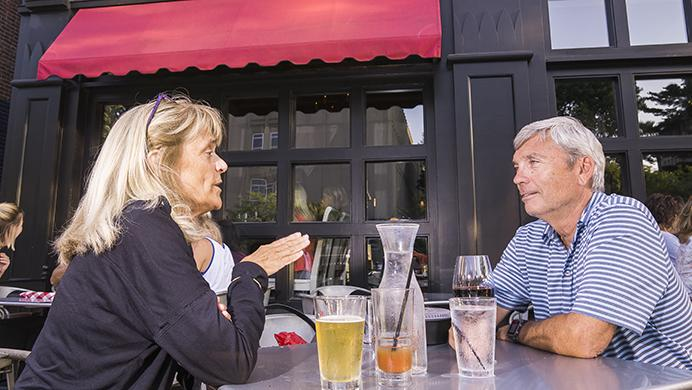 Toni Cilek and Bart Gibney go on a date to Basta on Monday, July 24, 2017. The pair were celebrating potential future retirement and the fact that its not 110 degrees out. They also enjoy visiting local businesses while students are out of town. (James Year/Daily Iowan)