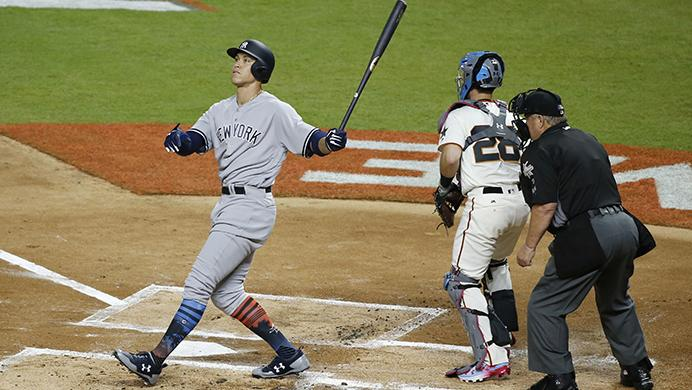 American Leagues New York Yankees Aaron Judge (99) strikes out in the first inning during the MLB baseball All-Star Game, Tuesday, July 11, 2017, in Miami. (AP Photo/Wilfredo Lee)