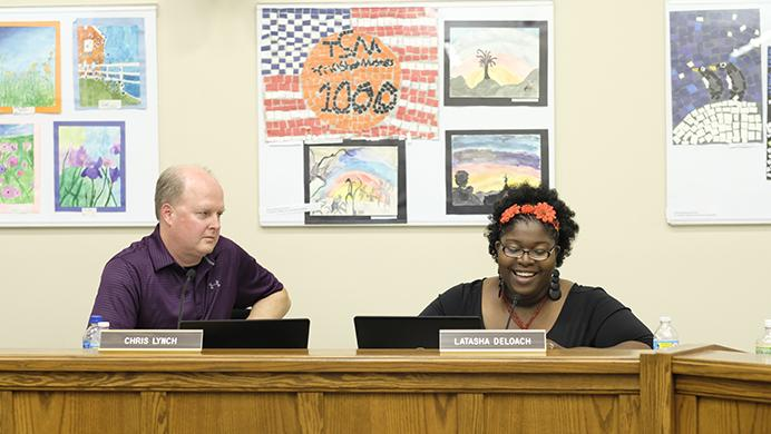 Iowa City School Board Vice President LaTasha DeLoach addresses the board on Tuesday. On July 7, DeLoach announced she would resign from the board for health reasons.(Nick Rohlman/The Daily Iowan)