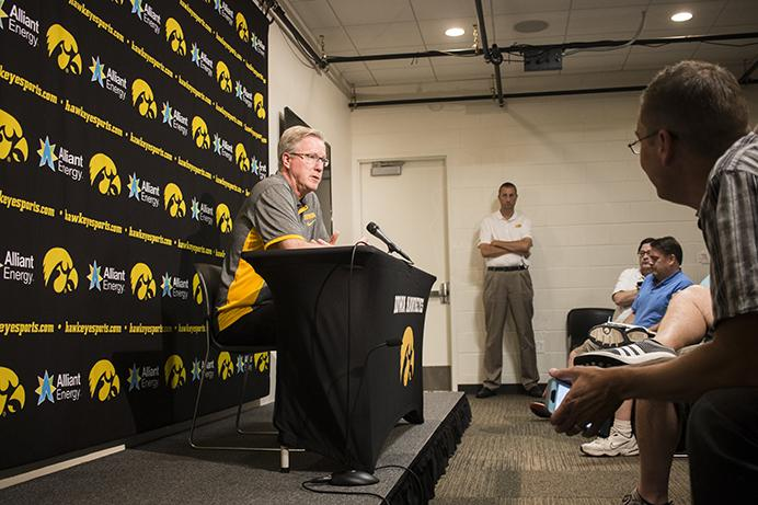 Iowa+head+coach+Fran+McCaffery+speaks+during+a+press+conference+before+a+men%27s+basketball+practice+in+Carver-Hawkeye+Arena+on+Wednesday%2C+Aug.+2%2C+2017.++The+Hawkeyes+will+travel+to+Europe+on+August+6+for+12+days.+%28Joseph+Cress%2FThe+Daily+Iowan%29