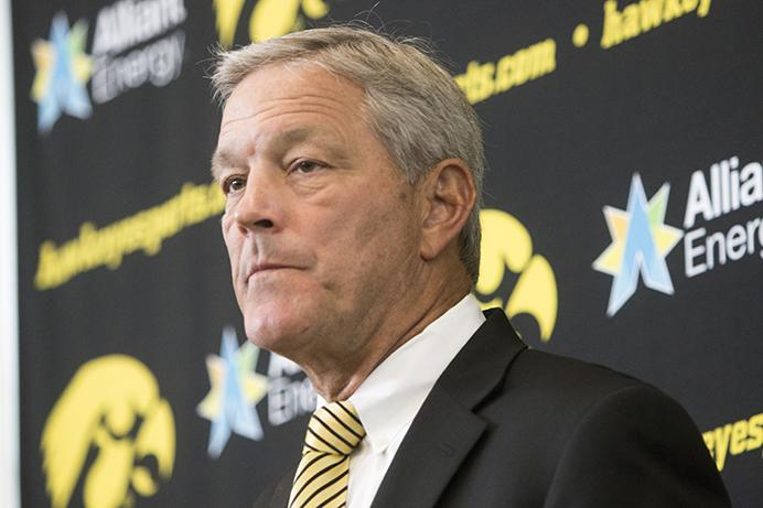 Iowa+head+coach+Kirk+Ferentz+speaks+during+Iowa+football+media+day+on+Saturday%2C+Aug.+5%2C+2017.+The+Hawkeyes+will+play+open+up+non-conference+play+against+Wyoming+at+11+a.m.+%28CT%29+on+Saturday%2C+Sept.+2.+%28Joseph+Cress%2FThe+Daily+Iowan%29