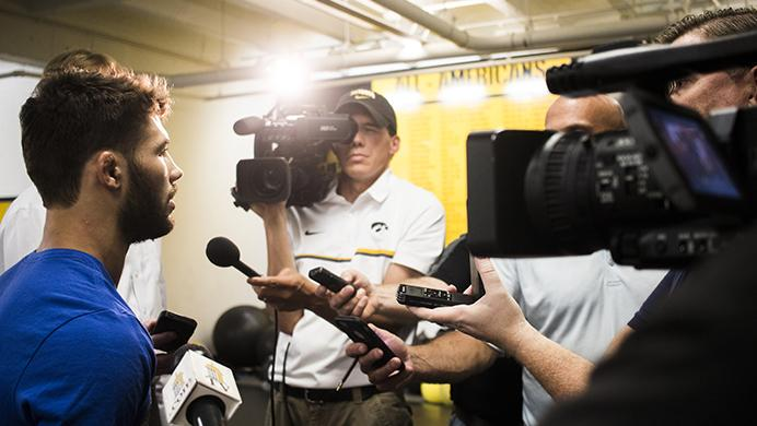 Thomas+Gilman+speaks+with+members+of+the+media+during+a+wrestling+practice+inside+the+Dan+Gable+Wrestling+Complex+in+Carver-Hawkeye+Arena+on+Thursday%2C+Aug.+10%2C+2017.+Gilman+is+traveling+to+Paris%2C+France%2C+to+compete+for+the+World+Championship+on+Aug.+25.+Gilman+is+the+fourth+Hawkeye+to+represent+the+United+States+national+team+at+57+kg+in+a+row+since+2014.+%28Joseph+Cress%2FThe+Daily+Iowan%29