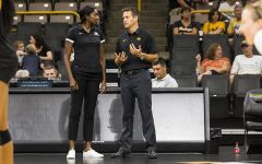 Iowa head coach Bond Shymansky (right) talks with first year associate head coach Vicki Brown during the volleyball Black & Gold scrimmage in Carver-Hawkeye Arena on Saturday, Aug. 19, 2017. The Hawkeyes will host their first home game against Nebraska-Omaha at noon on September 1 to kick off the four game Hawkeye Classic.