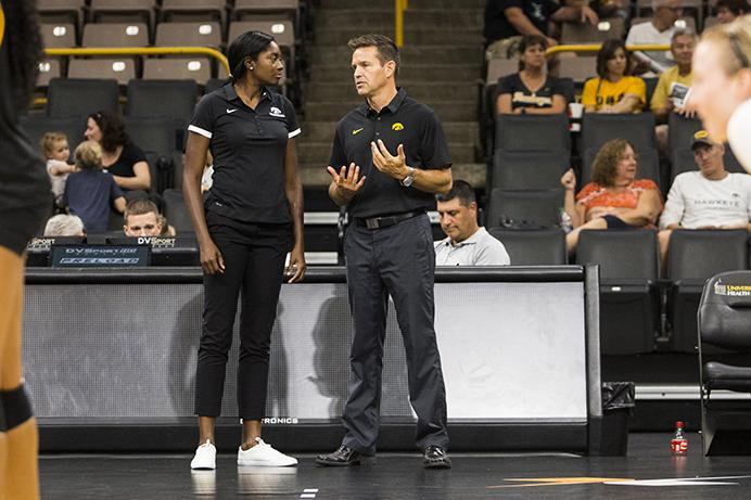 Iowa+head+coach+Bond+Shymansky+%28right%29+talks+with+first+year+associate+head+coach+Vicki+Brown+during+the+volleyball+Black+%26amp%3B+Gold+scrimmage+in+Carver-Hawkeye+Arena+on+Saturday%2C+Aug.+19%2C+2017.+The+Hawkeyes+will+host+their+first+home+game+against+Nebraska-Omaha+at+noon+on+September+1+to+kick+off+the+four+game+Hawkeye+Classic.+
