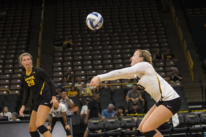 Iowa%27s+Annika+Olsen+sets+a+ball+during+the+volleyball+Black+%26amp%3B+Gold+scrimmage+in+Carver-Hawkeye+Arena+on+Saturday%2C+Aug.+19%2C+2017.+The+Hawkeyes+will+host+their+first+home+game+against+Nebraska-Omaha+at+noon+on+September+1+to+kick+off+the+four+game+Hawkeye+Classic.+%28Joseph+Cress%2FThe+Daily+Iowan%29