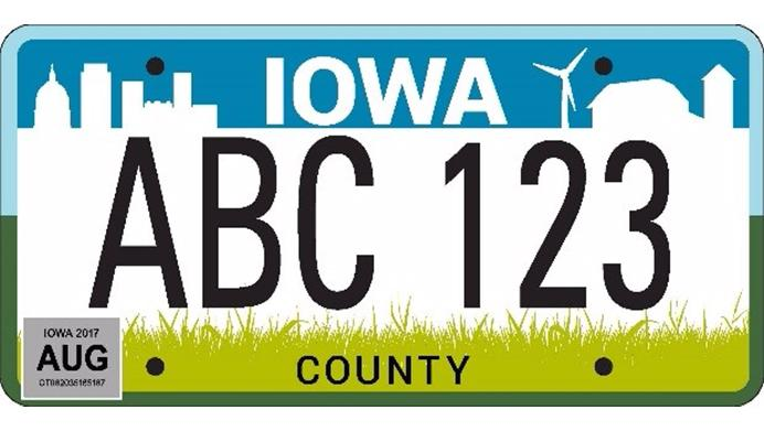 """Iowa Department of Transportation announced the winning """"City and Country Reboot"""" as the new design for the state's license plates"""