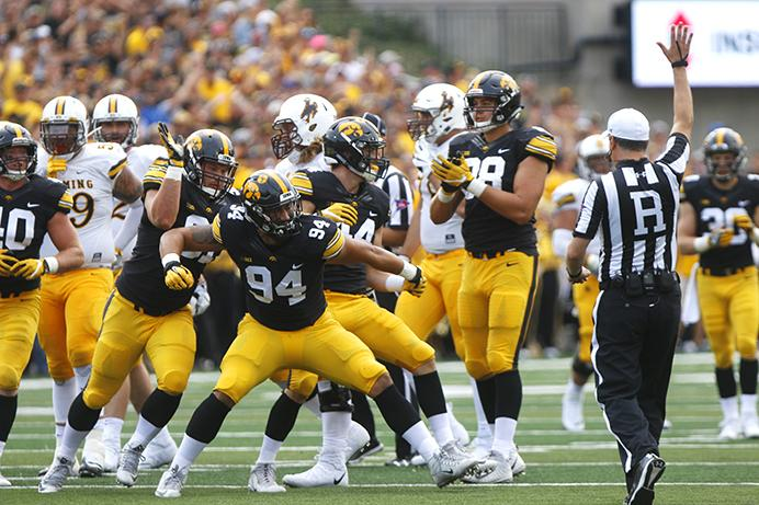 Iowa+defensive+end+A.J.+Epenesa+celebrates+after+making+a+play+during+an+NCAA+football+game+between+Iowa+and+Wyoming+in+Kinnick+Stadium+on+Saturday%2C+Sept.+2%2C+2017.++%28Joseph+Cress%2FThe+Daily+Iowan%29