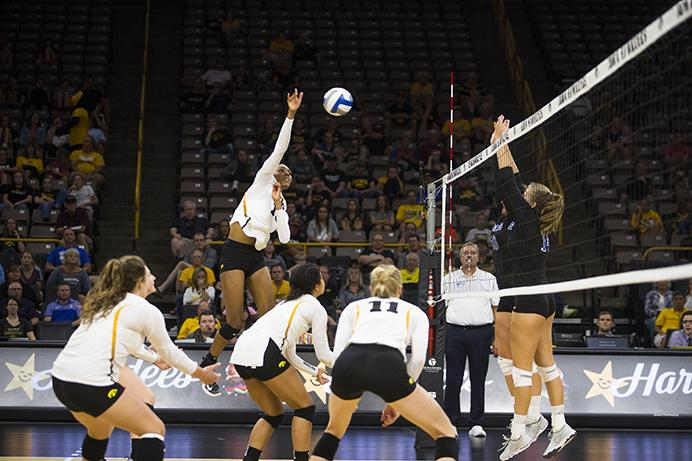 Iowa%27s+Taylor+Louis+spikes+a+ball+against+Indiana+State+on+Sept.+2.+The+Hawkeyes+defeated+the+Sycamores%2C+3-1.+%28Joseph+Cress%2FThe+Daily+Iowan%29