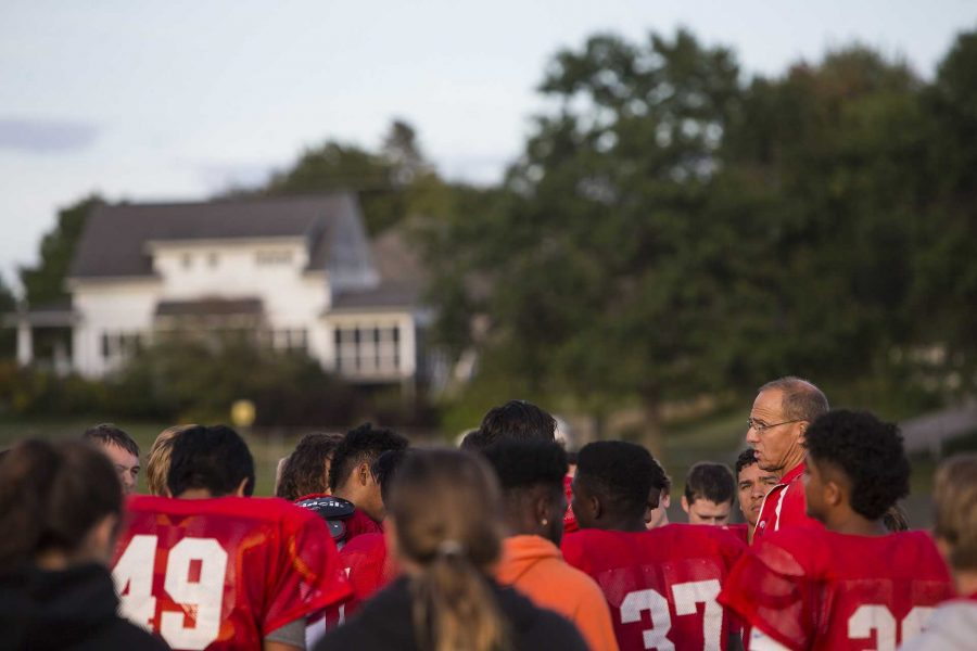 City High head coach Dan Sabers talks to players during a 4A varsity football practice on Wednesday, Sept. 6, 2017. The Little Hawks are headed to Ames on Sept. 8 to take on the Little Cyclones to compete for the Little Cy-Hawk trophy. City High will take on Ames High for the 5th year in a row, the night before the Hawkeyes take on Iowa State. (Joseph Cress/The Daily Iowan)