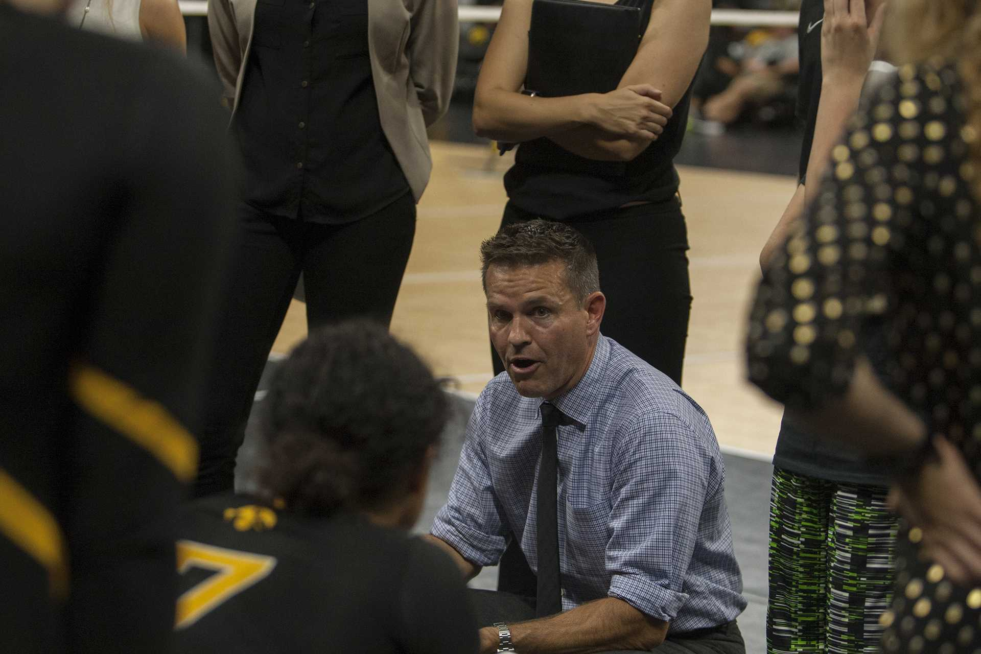 Iowa coach Bond Shymansky rallies his team during the match between Iowa and Iowa State inside Carver-Hawkeye Arena on Friday, September 8, 2017. The Hawkeyes fell to the Cyclones 3-1.