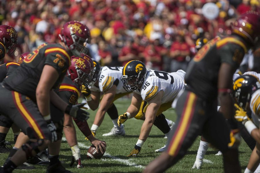 Iowa defensive lineman Matt Nelson is seen on the line of scrimmage during the game at Jack Trice Stadium on Saturday, Sept. 9, 2017.
