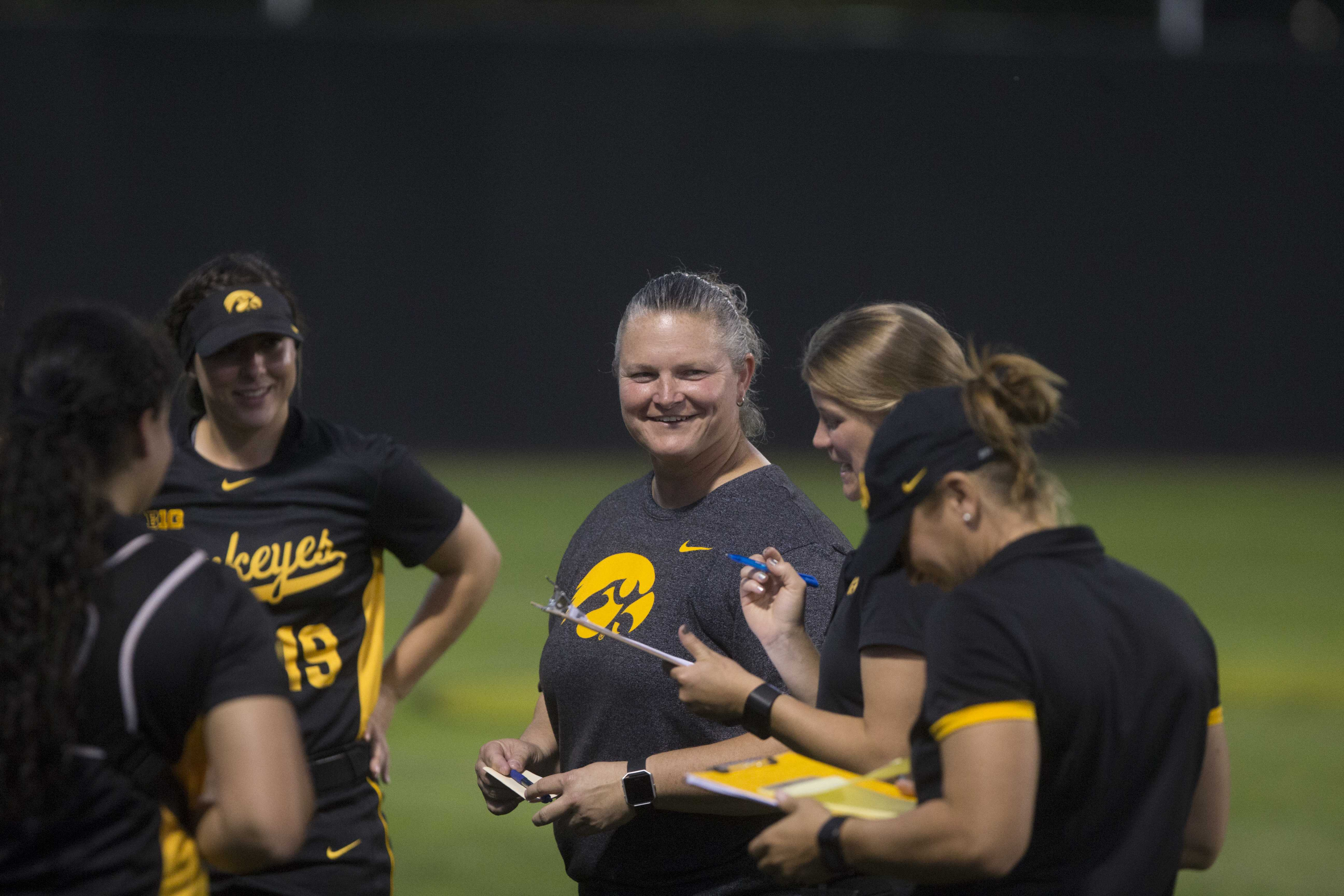 Iowa head coach Marla Looper is pleased with the Hawkeyes win at the Pearl Field Hawkeye Softball complex on Friday, Sept. 22, 2017. Hawkeyes defeated Kirkwood Community College 5-3. (Ashley Morris/The Daily Iowan)
