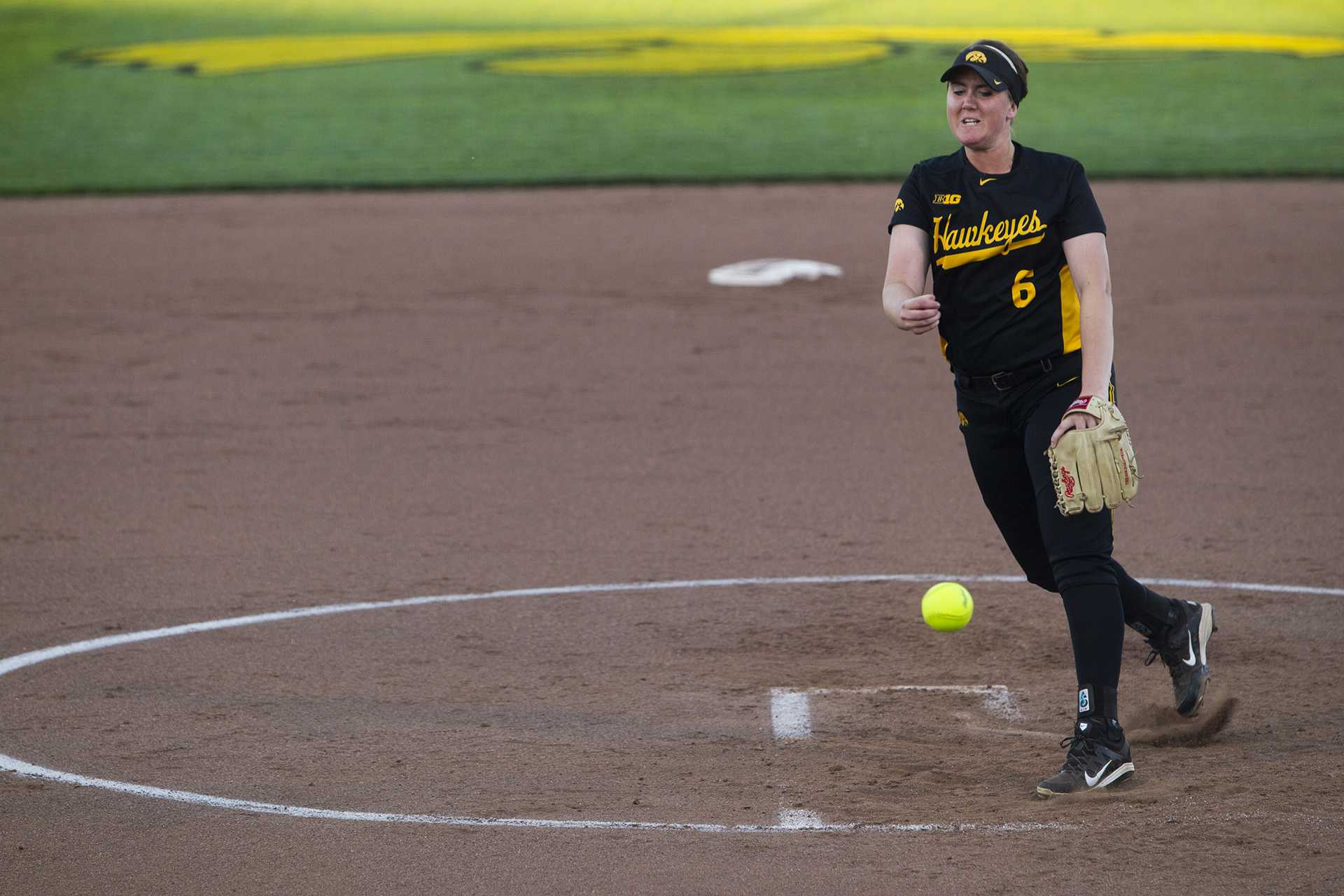 Iowa pitcher Erin Riding throws during a NCAA softball Big Four Classic tournament game at Pearl Field in Coralville on Friday, Sept. 29, 2017. The Panthers defeated the Hawkeyes, 3-0. (Joseph Cress/The Daily Iowan)
