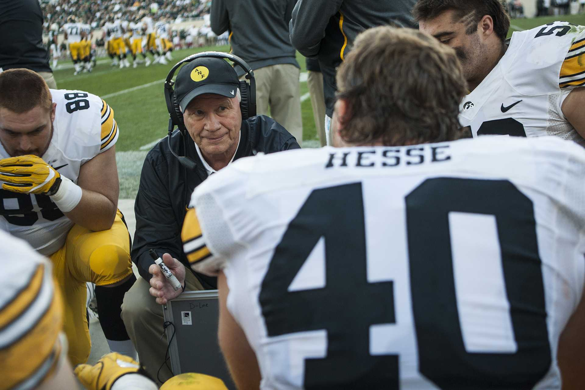Iowa defensive line coach Reese Morgan talks with the Iowa defense during the game between Iowa and Michigan State at Spartan Stadium on Saturday, Sept. 30, 2017. The Hawkeyes fell to the Spartans with a final score of 10-17. (Ben Smith/The Daily Iowan)