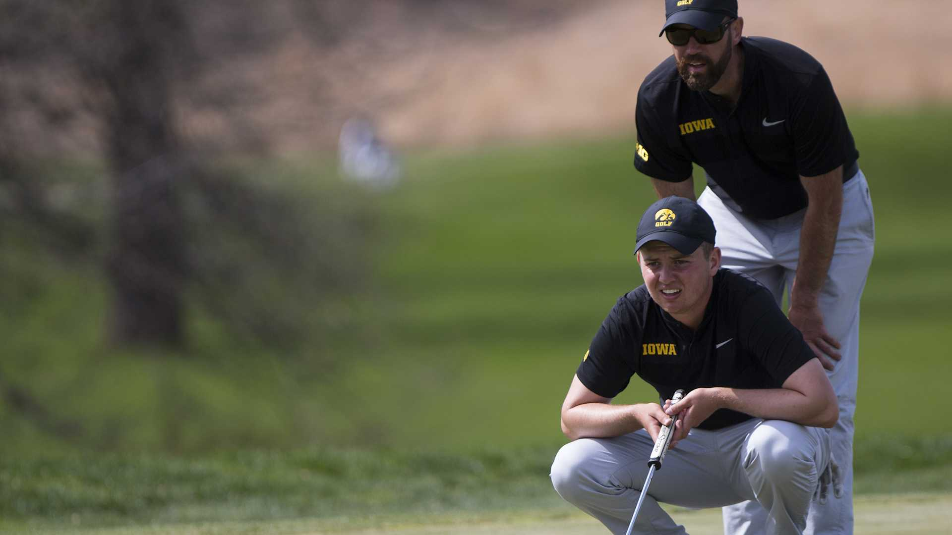 Iowa's Matthew Walker lines up a during the Hawkeye Invitational at Finkbine Golf Course on Sunday, April 16, 2017. The Hawkeyes finished second, behind Texas Tech, in the tournament after three rounds scoring 859 (-5; 289, 285, 285). (The Daily Iowan/Joseph Cress)