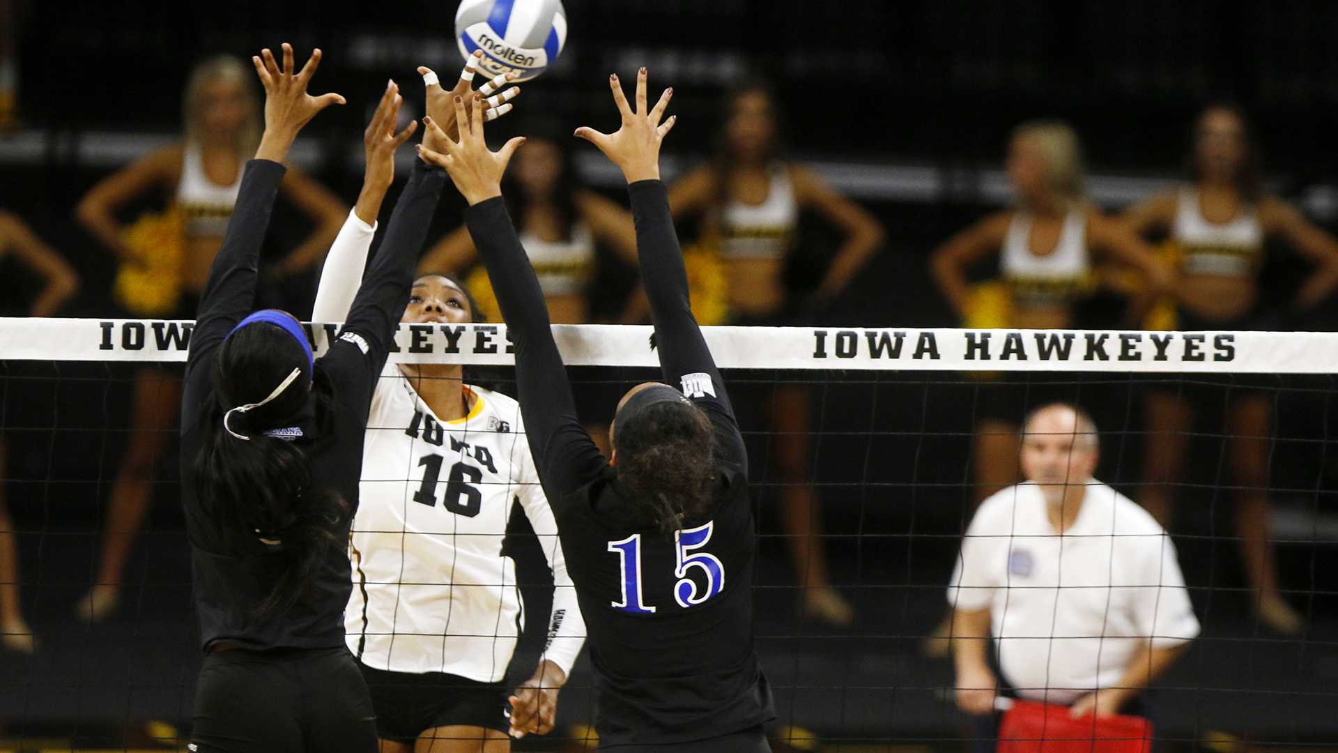 Iowa outside hitter Taylor Louis sets a ball over the net during an NCAA volleyball game between Iowa and Indiana State on Saturday, Sept. 2, 2017. The Hawkeyes defeated the Sycamores, 3-1. (Joseph Cress/The Daily Iowan)