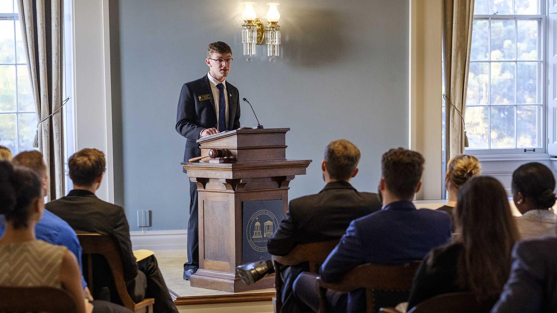 UISG President Jacob Simpson speaks on Tuesday, Sept. 19, 2017. (Nick Rohlman/The Daily Iowan)
