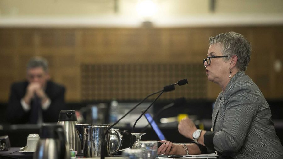 Sarah Fisher Gardial, Dean of the Tippie College of Business, speaks during the state Board of Regents meeting inside the IMU Main Lounge on Wednesday, Sept. 6, 2017. Gardial spoke changes in the market dynamics that led to the decision to close the full-time M.B.A. program.