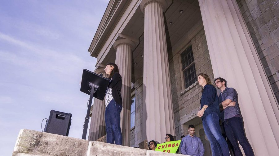 University of Iowa law students speak before a hundreds strong crowd of Deferred Action for Childhood Arrivals supporters at the Old Capitol Building on Thursday, Sept. 7, 2017. Several law students offered their services for free legal assistance during the event. (James Year/The Daily Iowan)