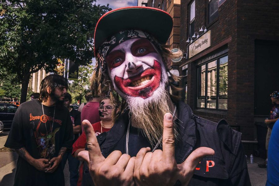 Anthony Goodson of Cedar Rapids poses for a photograph shortly before the Insane Clown Posse concert at Blue Moose on Saturday, Sept. 24, 2017. Anthony has seen ICP in concert over 40 times and just returned from the Juggalo March in Washington DC which protested the FBIs Juggalo gang label. (James Year/The Daily Iowan)