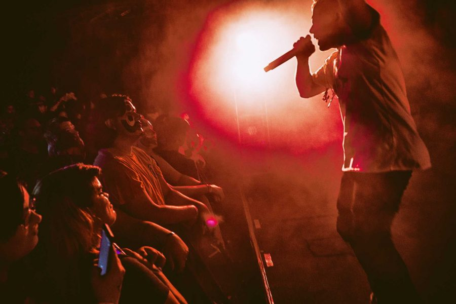 Ouija Macc, an opening act for Insane Clown Posse, performs before a crowd of Juggalos at the Blue Moose on Sunday, Sept. 23, 2017. At 17 years old, Ouija is performing on his first national tour. (James Year/The Daily Iowan)