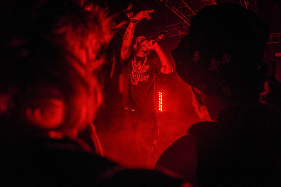 Big Hoodoo, an opening act for Insane Clown Posse, performs for the crowd at Blue Moose on Saturday, Sept. 23, 2017. Big Hoodoo is signed under ICPs notorious Psychopathic Records. (James Year/The Daily Iowan)