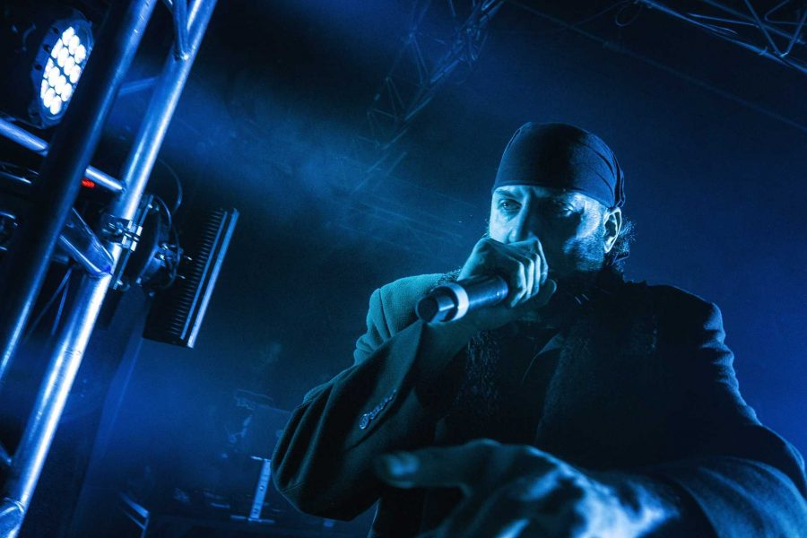 R.A. the Rugged Man, performs to a crowd of concertgoers and Juggalos at the Blue Moose on Saturday, Sept. 23, 2017. R.A. has been rapping since the age of 12 and has performed with artists like the Wu Tang Clan and Notorious B.I.G throughout his career. (James Year/The Daily Iowan)
